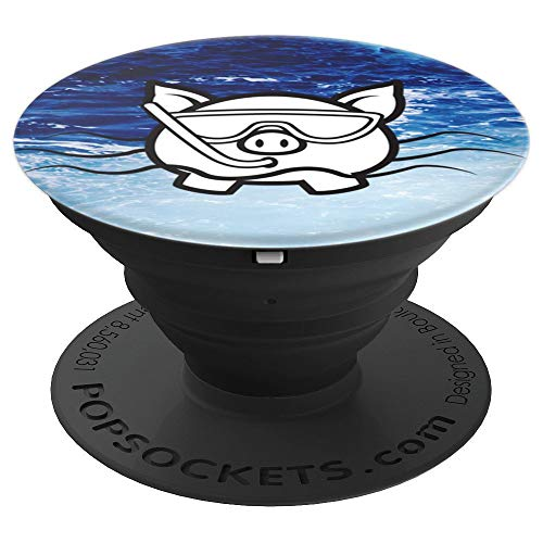 Bahamas Swimming Pigs - Mask & Snorkel in Ocean - PopSockets Grip and Stand for Phones and Tablets