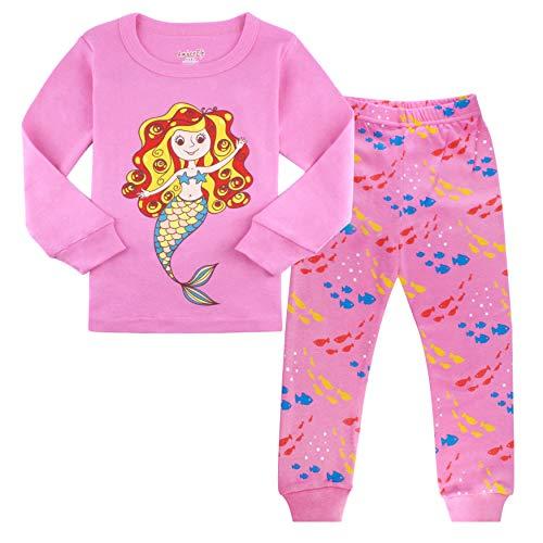 (Girls Pajamas 4T Kids Clothes Toddler Mermaid PJs 100% Cotton Sleepwear)