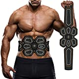 Abdominal Muscle Toner, Waitiee EMS Muscle Stimulator Electronic Muscle Trainer, Smart Wearable Home Abs Trainer for Men Women Smart Body Building (Black)