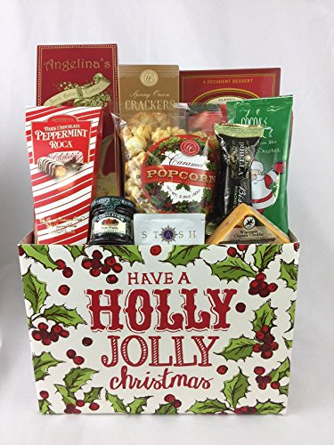 Gifts Unlimited Tea Lovers Holiday Holly Jolly Gourmet Basket Care Package Gift Box (Gourmet Tea Baskets)