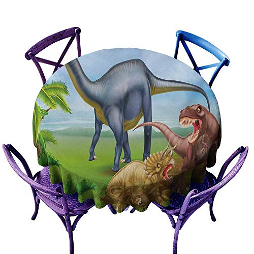 Zodel Water Resistant Table Cloth,Dinosaur Different Types of Dinosaurs Natural Jungle Environment T-Rex Triceratops Cartoon,Stain Resistant, Washable,63 INCH,Multicolor ()