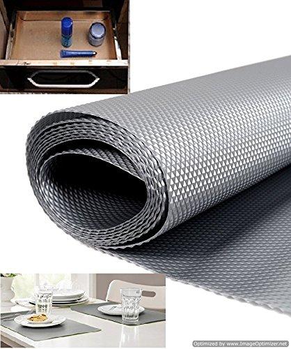 Skywalk Multipurpose Textured Super Strong Anti-Slip Eva Mat - for Fridge, Bathroom, Kitchen, Drawer, Shelf Liner, Size Full 3mtr Length(Color Silver Grey