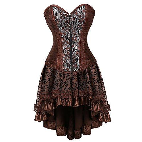 frawirshau Women's Steampunk Costume Corset Dress Halloween Costumes Steam Punk Gothic Overbust Corset and Skirt Set Brown 4XL -