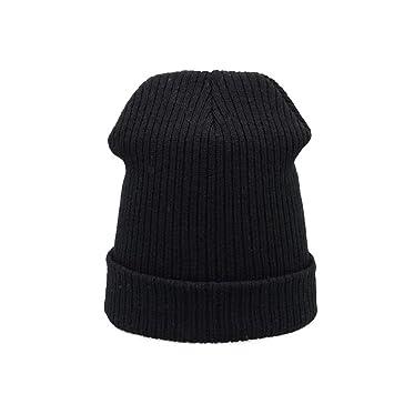 HAOLIEQUAN Sombrero De Invierno para Mujer Tejer Sombrero De Otoño para Niñas Negro Moda Gorras De Invierno para Niñas Gorros Gorro Rojo, Negro: Amazon.es: ...