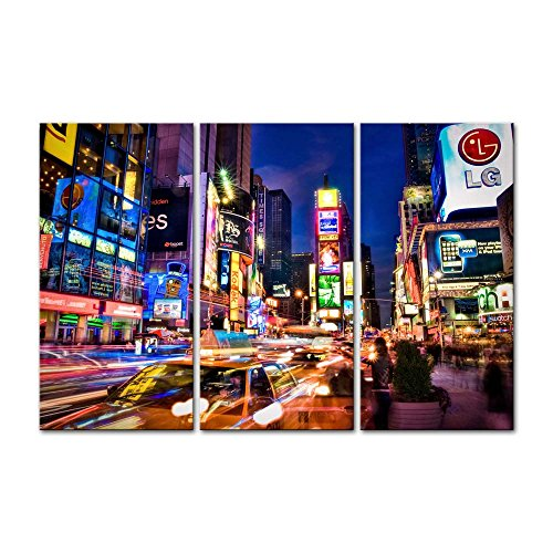 Canvas Print Wall Art Decor Cityscape Picture New York Times Square Pictures Urban Night Artwork USA City Poster Prints Stretched On Wooden Frame 3 Panel Image for Home Living Room Office Decoration]()