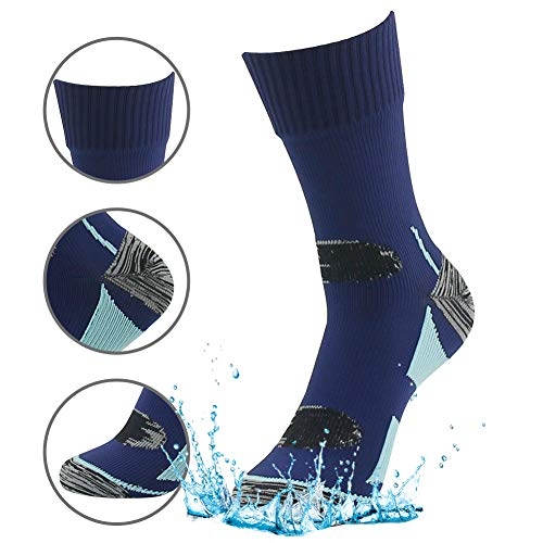 Hiking Waterproof Socks, RANDY SUN Mens' Christmas Gift Socks For Athletes Navy Blue&Light Blue M