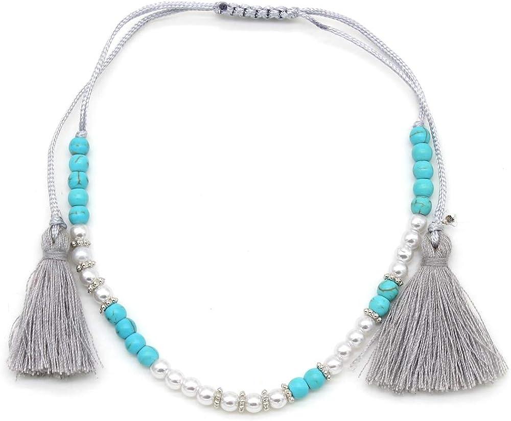 Musthaves Bracelet de cheville pour femme avec perles et pompons Longueur r/églable