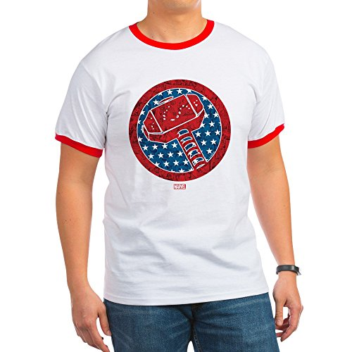 CafePress Thorth Of July Ringer T-Shirt, 100% Cotton Ringed T-Shirt, Vintage Shirt Red/White