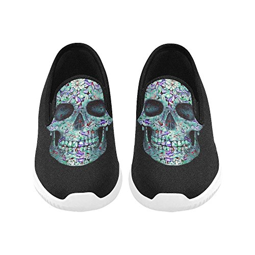Women Lady Skull InterestPrint Flowers Sneakers Canvas for on Slip Pattern Of Skull1 vxwOftwZq