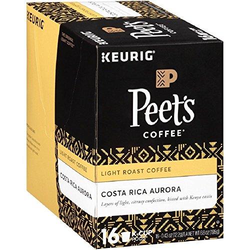 Costa Rica Light Roast - Peet's Coffee Costa Rica Aurora Light Roast K-Cup Packs, 16 Count