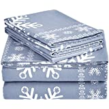 Pinzon Cotton Flannel Bed Sheet Set - Queen, Snowflake Dusty Blue