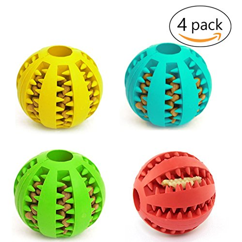 2' Bouncy Ball (4 Pack Pet Toy Ball for Dogs - Non-Toxic Bite Resistant Soft Rubber Bouncy Ball - Dog Food Treat Feeder Tooth Cleaning - Pet Exercise Game Ball IQ Training ball,Red Green Blue Yellow,2'')