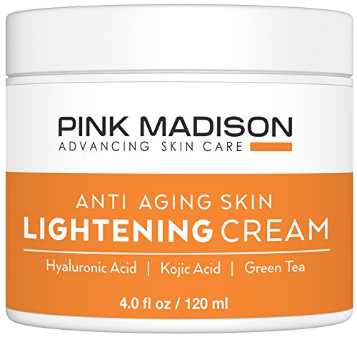 Pink Madison Whitening Cream. Anti Aging Skin Lightening Cream - Hyaluronic Acid, Kojic Acid, Green Tea. Best Night Day Moisturizing Cream. 4 Oz