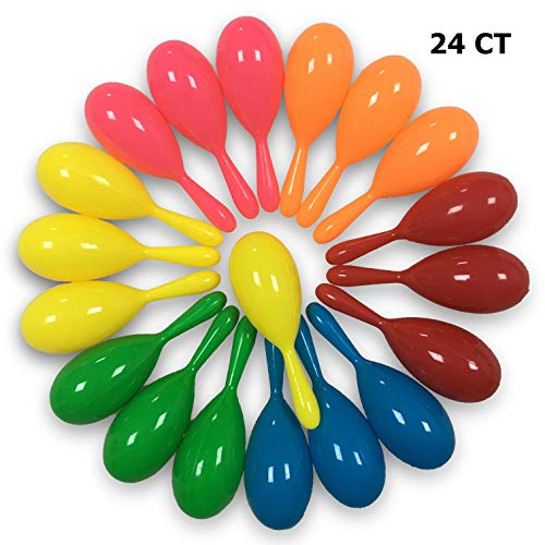 24CT Maracas Shakers Mini Noisemakers for Mexican Cinco de Mayo Fiesta's Centerpiece Decoration or Party Favors 6 Neon Colors]()