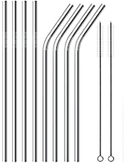 Stainless Steel Drinking Straws, Reusable Metal Drinking Straws Set of 8 with 2 Free Cleaning Brush Included