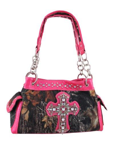 - Camouflage Studded Rhinestone Cross Purse Textured Pink Trim