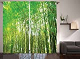 Ambesonne Bamboo Trees Decotaions Collection, Natural Bamboo Forest Botanical Garden Photo Print, Window Treatments, Living Kids Girls Room Curtain 2 Panels Set, 108 X 90 Inches, Green Yellow Olive