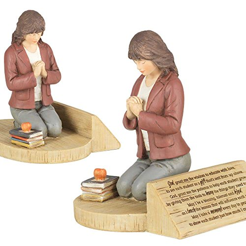 Teacher's Prayer, Kneeling With Books 4.5 x 5.5 Resin Stone Tabletop Figurine ()