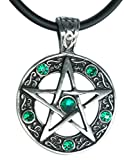 """Exoticdream Color Star Pentagram Pentacle Pagan Wiccan Witch Gothic Pewter Pendant + 18"""" PVC Necklace (Green)"""