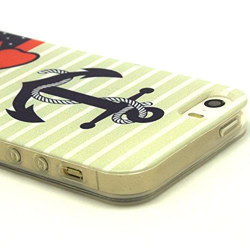 Beiuns coque en silicone pour Apple iPhone 5 5G 5S Housse Coque - L169 ancrés (nœud à deux boucles)