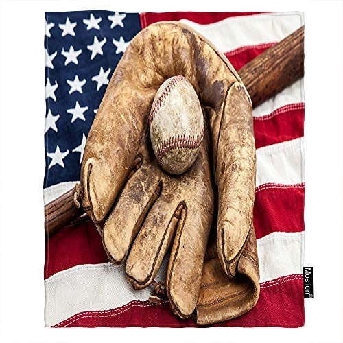 Moslion Flag Throw Blanket Vintage Baseball Bat Glove on American Flag Stripe Star Blanket Home Decorative Flannel Warm Travel Blankets 50x60 Inch for Couch Bed Red ()