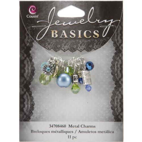 Cousin Jewelry Basics 11-Piece Glass/Metal Bead Cluster Aqua