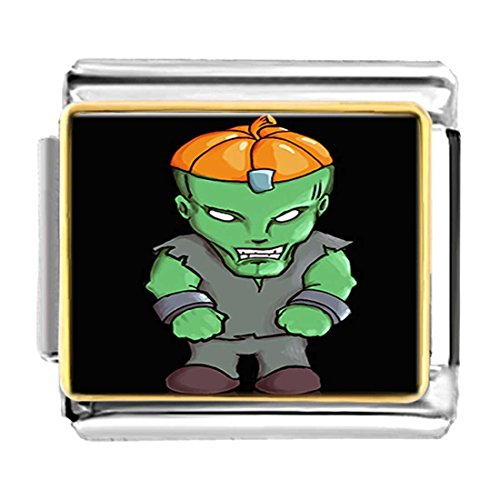 GiftJewelryShop Gold Plated Halloween hulk pumpkin Bracelet Link Photo Italian Charms (Pugster Pumpkin Halloween)