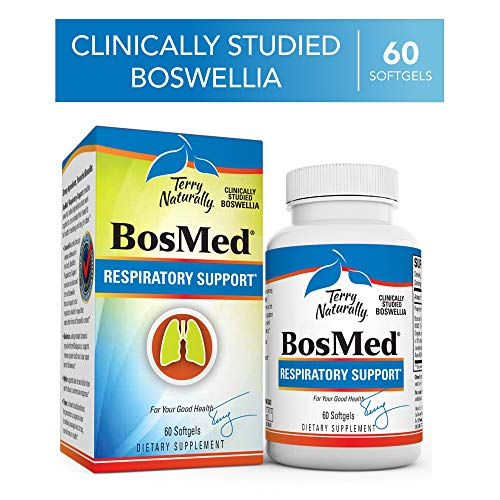 Terry Naturally BosMed Respiratory Support - 375 mg Boswellia Complex, 60 Softgels - Lung, Bronchial & Sinus Function Support Supplement - Non-GMO, Gluten-Free - 60 Servings
