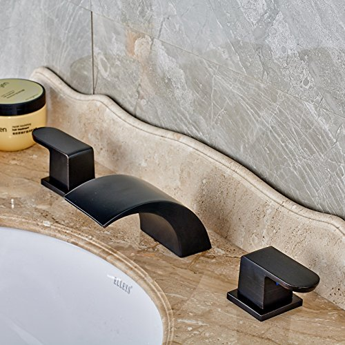85%OFF Rozin Two Handle Waterall Widespread Bathroom Sink Mixer Tap 3 Holes Deck Mounted Vanity Faucet Oil Rubbed Bronze