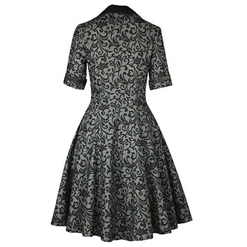 Grau Gothic Look Kleid 50er Petticoat Dress Zum Ornamente Chic 60er Star Vintage Schwarz xTZqwZHUz