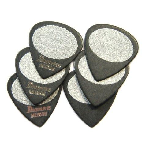 Ibanez BPA16MS-BK Grip Wizard Serie - Plektren Sandgrip Medium (6 Stück) schwarz
