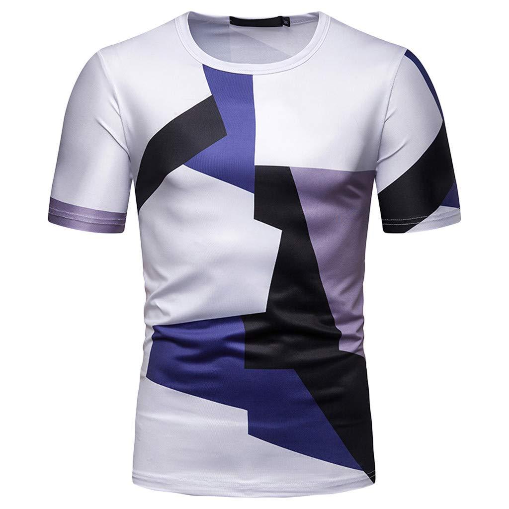 Kulywon Mens Shirts Men/'s Fashion Short Sleeve Stripe Painting Large Size Casual Top Blouse Shorts