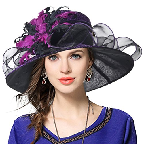 Ladies's Kentucky Derby Church Wedding Luxury Dress Hat (The Perfect Purple Feather)