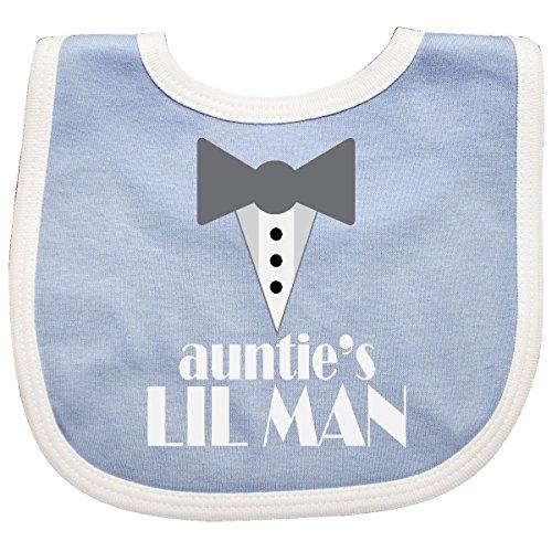 Inktastic Auntie Lil Man Tuxedo Front Baby Bib Blue/White