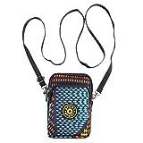Canvas Altocumulus Translucidus Pattern Cellphone Pouch Sport Outdoor Mini Shoulder Bag Wristlet Sky Blue