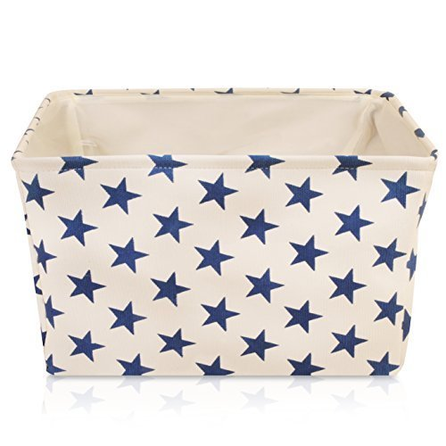 White Star Canvas Storage Basket Box for Household Storage with Blue Stars. 16.5in x 12.5in x 7.5in by For the Love of Home Leisure (Image #9)