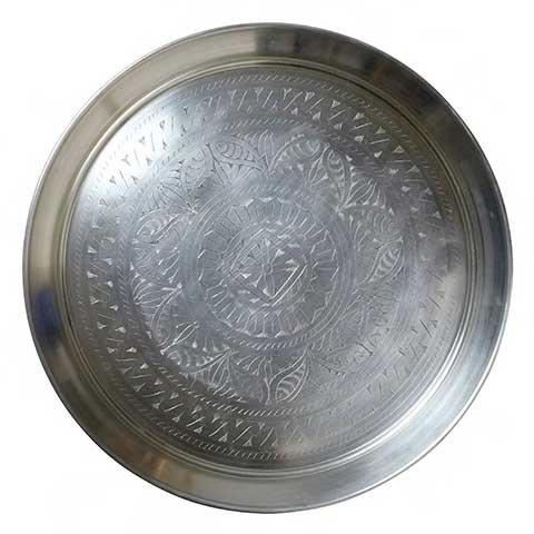 Exclusivo diseño Bandeja redonda de aluminio grabada de 63x3,5 cm. Decoración de Diseño: Amazon.es: Alimentación y bebidas