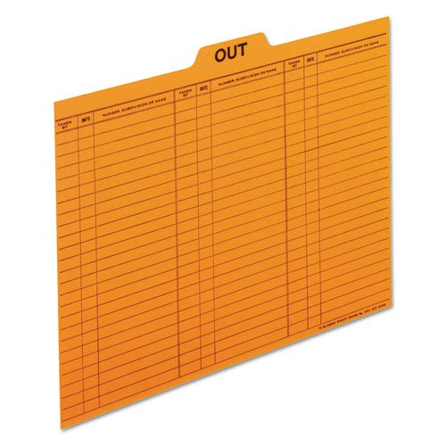 (Out/Substitution Guides, 1/5 Top Tab, 11 pt Stock, Letter, Salmon, 100/Box, Sold as 100 Each)