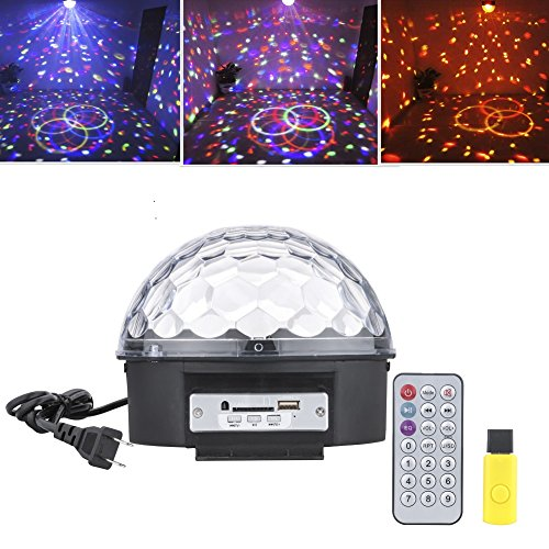 Leeko Mp3 LED RGB Crystal Magic Ball Effect Light 6 Color Rotating Disco Stage Light with Remote Control U-disk for KTV Xmas PartyClub Pub