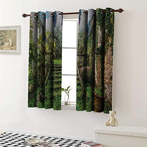 (Nature Window Curtain Fabric Ancient Fairytale Theme Hidden Garden with Botanic Trees Flowers Ivy Image Print Curtains and Drapes for Living Room W55 x L63 Inch Multicolor)