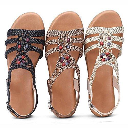 Women's Embroidery Soft Size Heel Sandals Slope Base Ethnic xiaolin Women's Women Summer 02 Optional aZwxw4qzY
