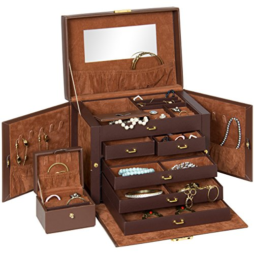 Best Choice Products Leather Box Organizer Storage with Mini Travel Case (Brown) ()