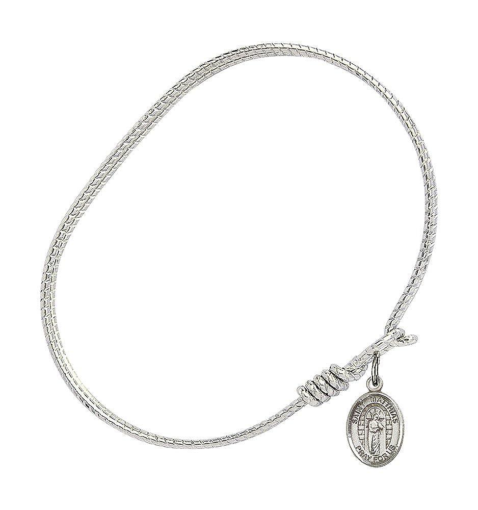 St Matthias The Apostle Charm On A 6 1//4 Inch Oval Eye Hook Bangle Bracelet