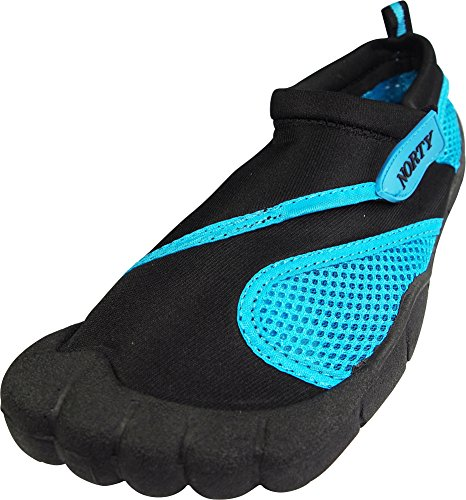 Norty - Womens Skeletoe Close Aqua Water Shoe, Black, Turquoise 39393-8B(M)US