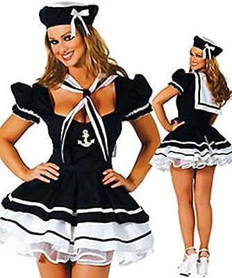 Everglamour Disfraz de marinera sexy para Halloween , M(UK SIZE 10 ...