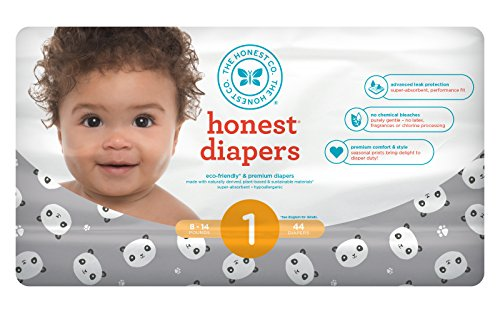 Honest Baby Diapers, Pandas, Size 1, 176 Count