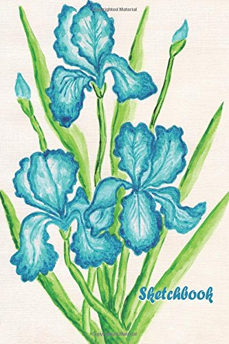 Sketchbook: Blue Orchid 6x9 - BLANK JOURNAL NO LINES - unlined, unruled pages (Watercolor Flowers Sketchbook Series)