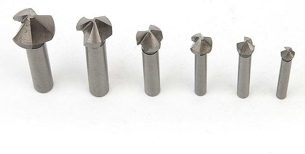 Basic Cellphone Cases CZMY 6pcs Speed Drills Titanium 3 Flute 90 Degree HSS Metals Titanium Three Edge Chamfer Chamfering Drill Bit Set Drilling Mill Drill Drill Bits