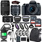 Canon EOS 77D DSLR Camera with 18-55mm Lens Kit + Canon 75-300mm & 50mm f/1.8 Lens + Speedlight TTL Flash + 64GB Memory + Wide & Tele Auxiliary Lenses + High Def Filter & Macro Kit + Accessory Bundle