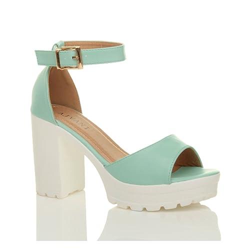 Donna tacco alto punta aperta sandali con plateau suola carrarmato taglia 3  36